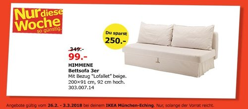Ikea Himmene Bettsofa 3er Für 9900 72