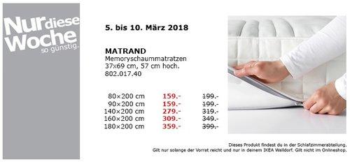 IKEA MATRAND Memoryschaummatratze 90x200 cm - jetzt 20% billiger