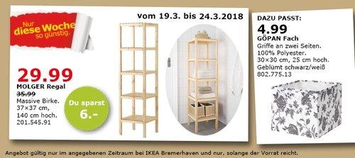 IKEA MOLGER Regal massive Birke 37x37x140 cm für 29,99€ - jetzt 17% billiger