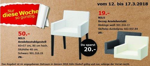 IKEA NILS Armlehnstuhlgestell, 60x57 cm, 80 cm hoch, schwarz - jetzt 29% billiger