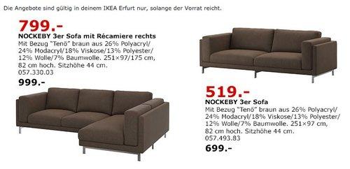 IKEA NOCKEBY 3er-Sofa mit Récamiere rechts - jetzt 20% billiger