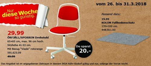 IKEA ÖRFJÄLL/SPORREN Drehstuhl - jetzt 40% billiger