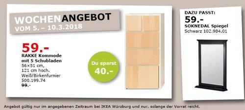 IKEA RAKKE Kommode mit 5 Schubladen - jetzt 40% billiger