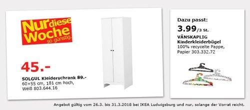 IKEA SULGUL Kleiderschrank - jetzt 49% billiger