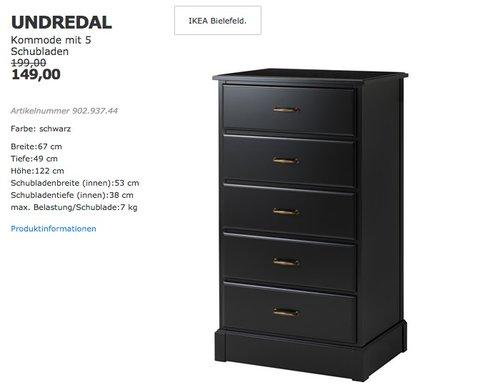 IKEA UNDREDAL Kommode mit 5 Schubladen - jetzt 25% billiger