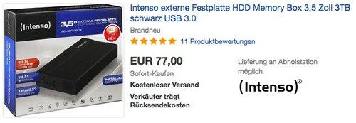 Intenso Memory Box 3TB externe Festplatte - jetzt 7% billiger