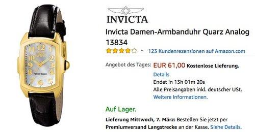 Invicta Damen-Armbanduhr Quarz Analog 13834 - jetzt 24% billiger