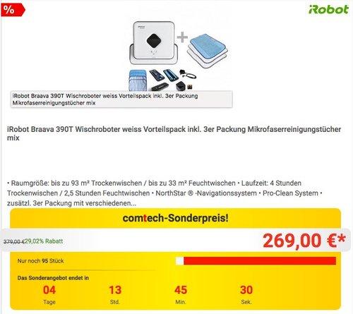 iRobot Braava 390T Wischroboter weiss Vorteilspack inkl. 3er Packung Mikrofaserreinigungstücher mix - jetzt 10% billiger