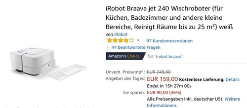 iRobot Braava jet 240 Wischroboter - jetzt 26% billiger