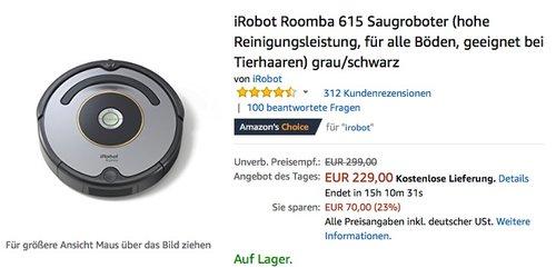 iRobot Roomba 615 Saugroboter - jetzt 14% billiger