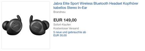 Jabra Elite Sport Wireless Bluetooth Headset Kopfhörer - jetzt 25% billiger