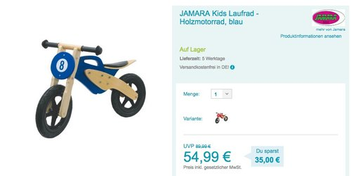 JAMARA Kids Laufrad - jetzt 19% billiger