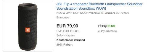 JBL Flip 4 tragbarer Bluetooth Lautsprecher - jetzt 11% billiger