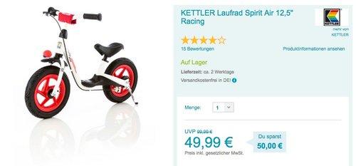 """Kettler Laufrad """"Spirit Air Racing"""" - jetzt 21% billiger"""