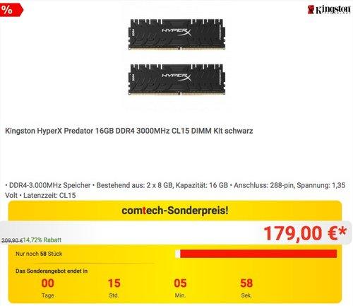 Kingston HyperX Predator 16GB DDR4 3000MHz CL15 DIMM Kit schwarz - jetzt 11% billiger