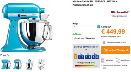 KitchenAid 5KSM175PSECL ARTISAN Küchenmaschine - jetzt 10% billiger