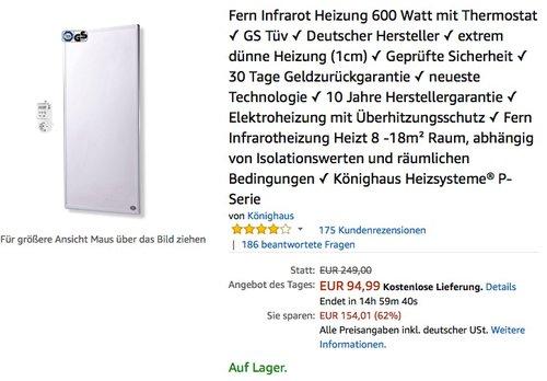 Könighaus Fern Infrarotheizung P-600 mit Thermostat - jetzt 29% billiger