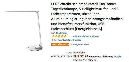 LED Schreibtischlampe Metall TaoTronics Tageslichtlampe, 5 Helligkeitsstufen und 5 Farbtemperaturen - jetzt 29% billiger
