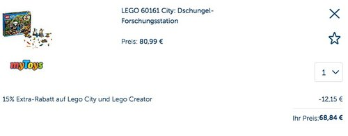 LEGO 60161 City: Dschungel-Forschungsstation - jetzt 10% billiger