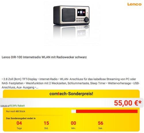 Lenco DIR-100 Internetradio - jetzt 16% billiger