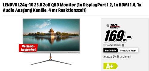 LENOVO L24q-10 23.8 Zoll QHD Monitor - jetzt 15% billiger