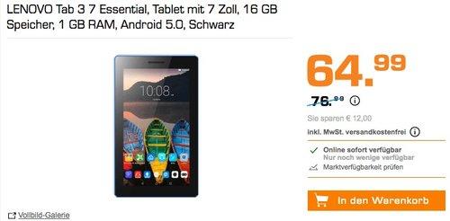 LENOVO Tab 3 7 Essential, Tablet mit 7 Zoll, 16 GB Speicher, 1 GB RAM, Android 5.0, Schwarz - jetzt 16% billiger