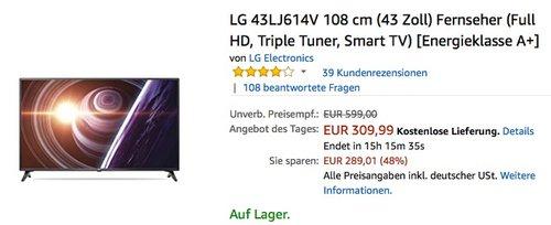 LG 43LJ614V 108 cm (43 Zoll) Fernseher (Full HD, Triple Tuner, Smart TV) - jetzt 16% billiger