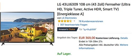 LG 43UJ6309 108 cm (43 Zoll) Fernseher - jetzt 14% billiger