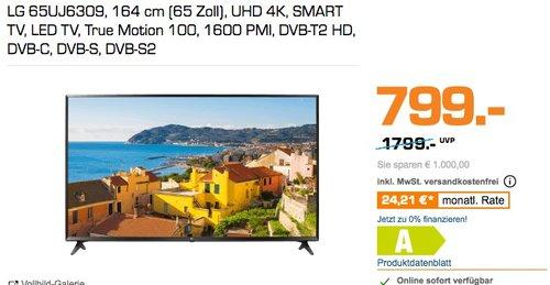 LG 65UJ6309 164 cm (65 Zoll) 4K Fernseher - jetzt 27% billiger