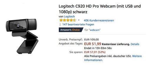 Logitech C920 HD Pro Webcam schwarz - jetzt 20% billiger