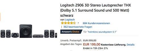Logitech Z906 3D Stereo Lautsprecher THX Dolby 5.1 Surround Sound - jetzt 15% billiger