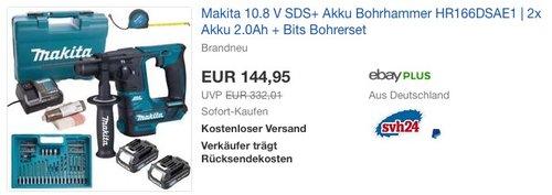 Makita 10.8 V SDS+ Akku Bohrhammer HR166DSAE1 | 2x Akku 2.0Ah + Bits Bohrerset - jetzt 12% billiger