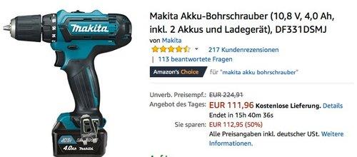 Makita Akku-Bohrschrauber (10,8 V, 4,0 Ah, inkl. 2 Akkus und Ladegerät) - jetzt 23% billiger