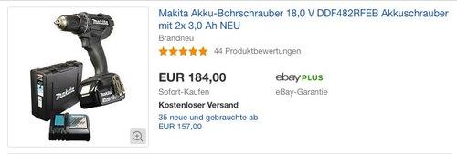Makita Akku-Bohrschrauber 18,0 V DDF482RFEB - jetzt 6% billiger