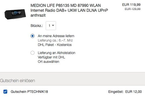 MEDION LIFE P85135 MD 87990 WLAN Internet Radio - jetzt 10% billiger