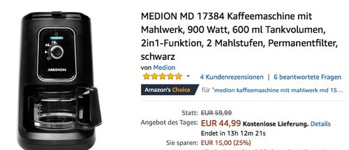 MEDION MD 17384 Kaffeemaschine mit Mahlwerk - jetzt 25% billiger