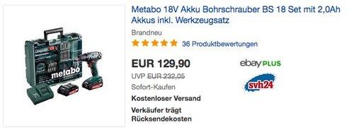 Metabo 18V Akku Bohrschrauber BS 18 Set - jetzt 11% billiger
