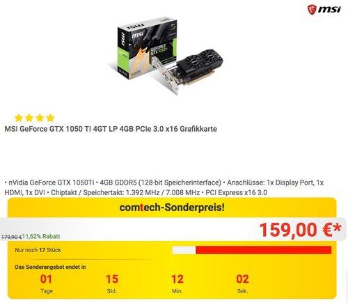 MSI GeForce GTX 1050 TI 4GT LP 4GB Grafikkarte - jetzt 11% billiger
