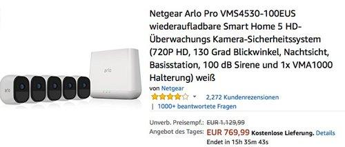 Netgear Arlo Pro VMS4530-100EUS wiederaufladbare Smart Home 5 HD-Überwachungs Kamera-Sicherheitssystem - jetzt 19% billiger