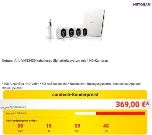Netgear Arlo VMS3430 kabelloses Sicherheitssystem mit 4 HD-Kameras - jetzt 11% billiger
