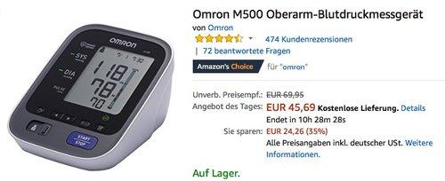 Omron M500 Oberarm-Blutdruckmessgerät - jetzt 20% billiger