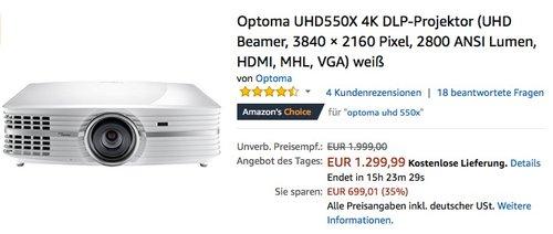 Optoma UHD550X 4K DLP-Projektor - jetzt 13% billiger