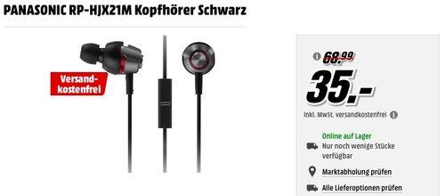 PANASONIC RP-HJX21M Kopfhörer Schwarz für 35€ - jetzt 30% billiger