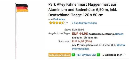 Park Alley Fahnenmast Flaggenmast aus Aluminium und Bodenhülse 6,50 m, inkl. Deutschland Flagge 120 x 80 cm - jetzt 25% billiger