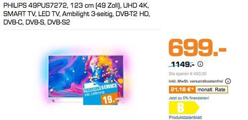 PHILIPS 49PUS7272, 123 cm (49 Zoll), UHD 4K, SMART TV, LED TV, Ambilight 3-seitig - jetzt 13% billiger