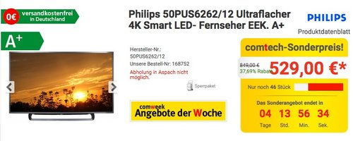 Philips 50PUS6262/12 Ultraflacher 4K Smart 50 Zoll LED- Fernseher - jetzt 5% billiger