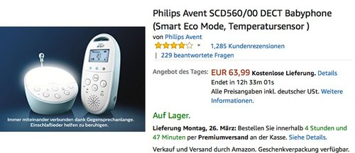 Philips Avent SCD560/00 DECT Babyphone blau (Smart Eco Mode, Temperatursensor ) - jetzt 18% billiger