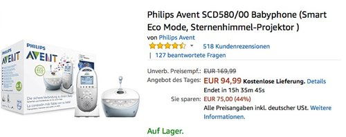 Philips Avent SCD580/00 Babyphone mit Sternenhimmel-Projektor - jetzt 9% billiger