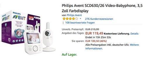 Philips Avent SCD630-26 Video-Babyphone - jetzt 16% billiger