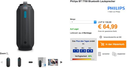 Philips BT 7700 Bluetooth Lautsprecher - jetzt 19% billiger
